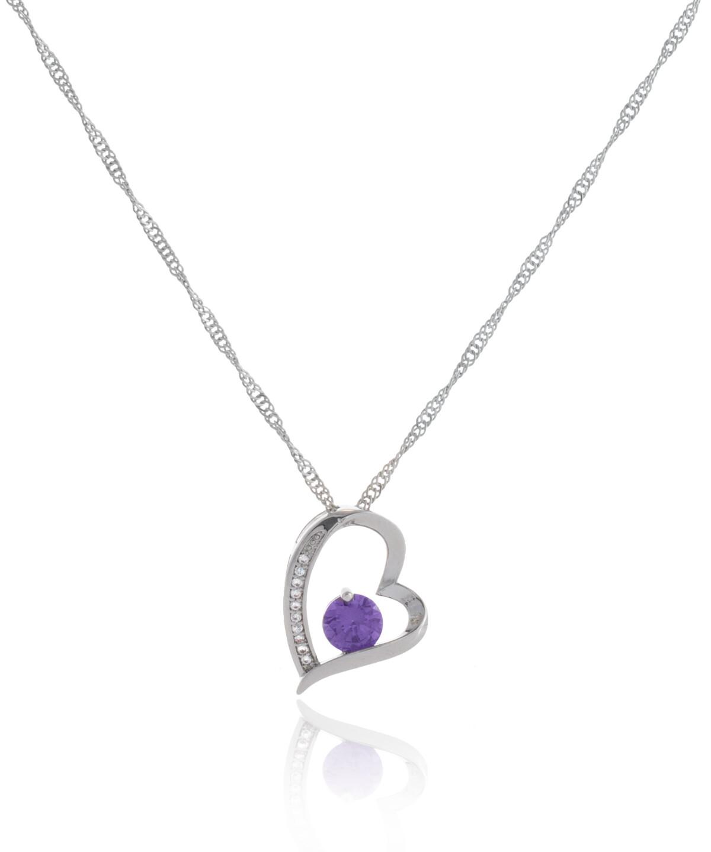 Μεταλλικό κολιέ σε σχέδιο καρδιάς με μοβ και λευκά ζιργκόν | Kostis Jewellery Store