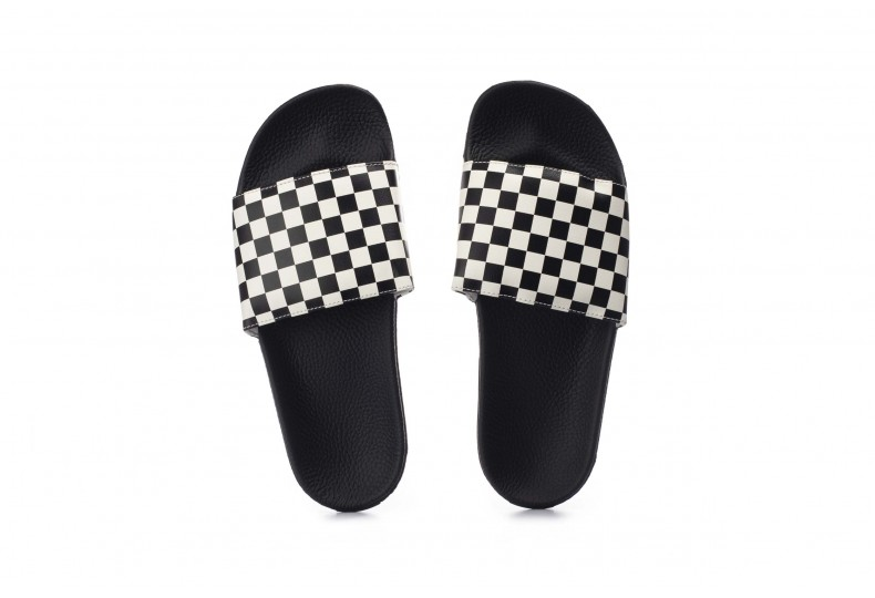 VANS CHECKERBOARD SLIDE-ON SANDALS V4KIIP9-IP9 Λευκό-Μαυρο