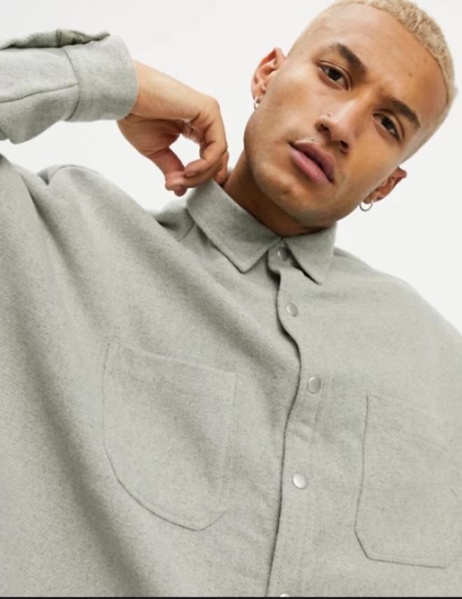 ASOS DESIGN extreme oversized wool mix shirt in grey marl