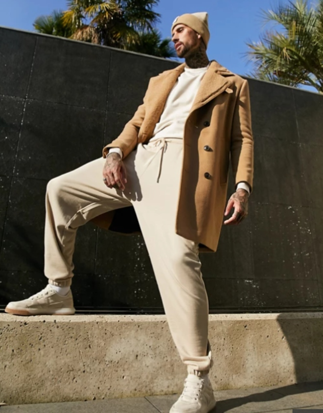 ASOS DESIGN wool mix overcoat with teddy lining in camel