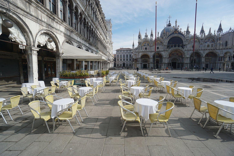 άδεια πλατεία αγίου μάρκου ιταλία λόγω κορονοϊού