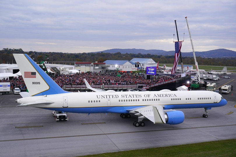With Air Force One in the foreground, President Donald Trump speaks at a campaign rally at Reading Regional Airport, Saturday, Oct. 31, 2020, in Reading, Pa. (AP Photo/Alex Brandon)