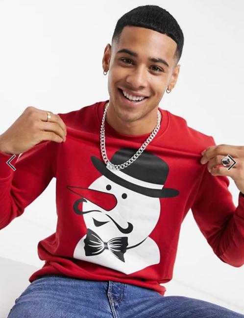 Jack & Jones Originals Christmas sweat with snowman print in red