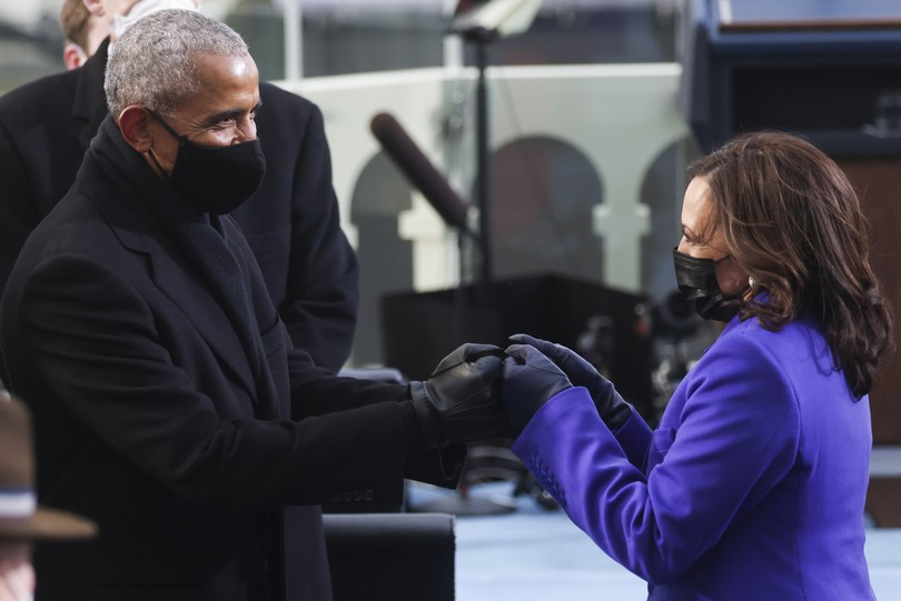 Former President Barack Obama greets Vice President-elect Kamala Harris ahead of President-elect Joe Biden's inauguration, Wednesday, Jan. 20, 2021, at the U.S. Capitol in Washington. (Jonathan Ernst/Pool Photo via AP)