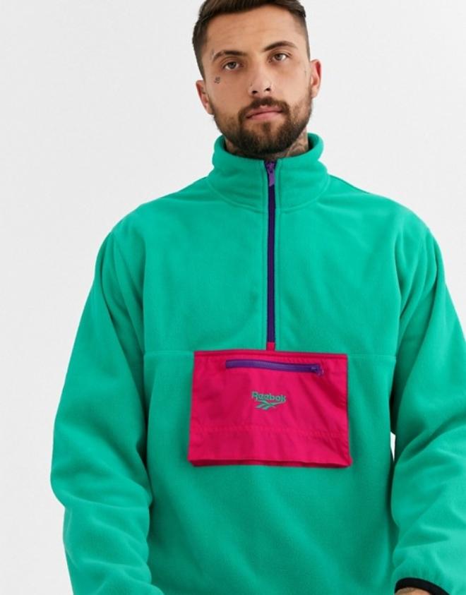 Reebok half zip sweatshirt in green fleece | ASOS