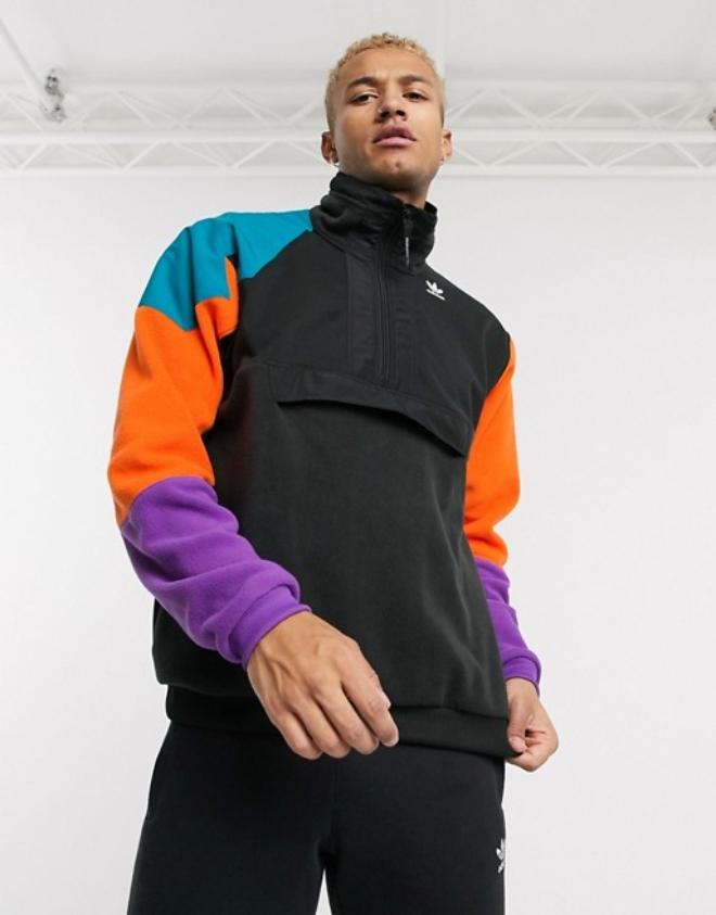 adidas Originals PT3 fleece half zip jacket in black