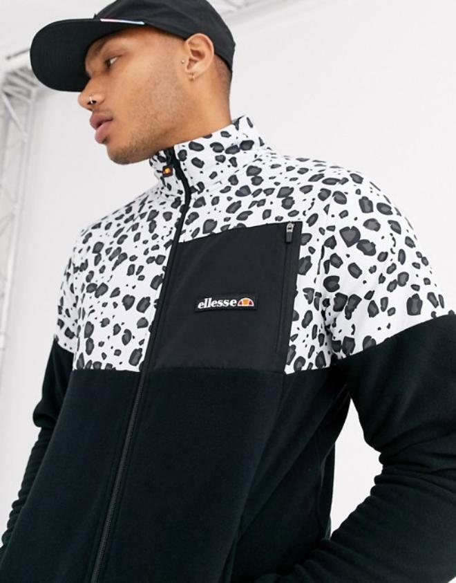 ellesse Jeremy mono animal print fleece in black exclusive at ASOS | ASOS