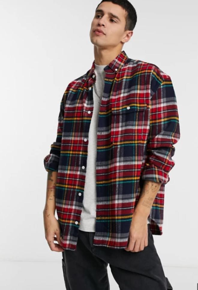 ASOS DESIGN brushed flannel 90s oversized shirt in multi collegiate check