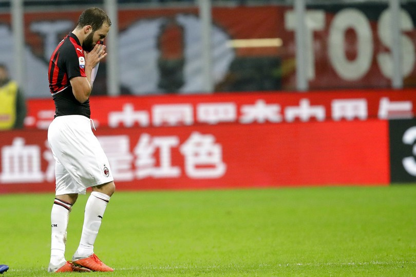 AC Milan's Gonzalo Higuain, leaves the field of play after he received a red card during a Serie A soccer match between AC Milan and Juventus, at Milan's San Siro stadium