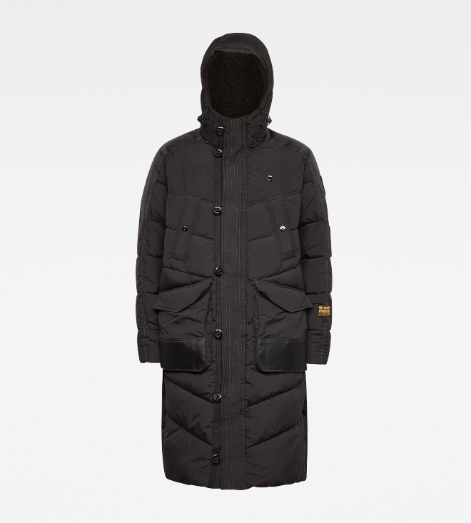 G-Star Utility Quilted Hooded Extra Long Parka-Black