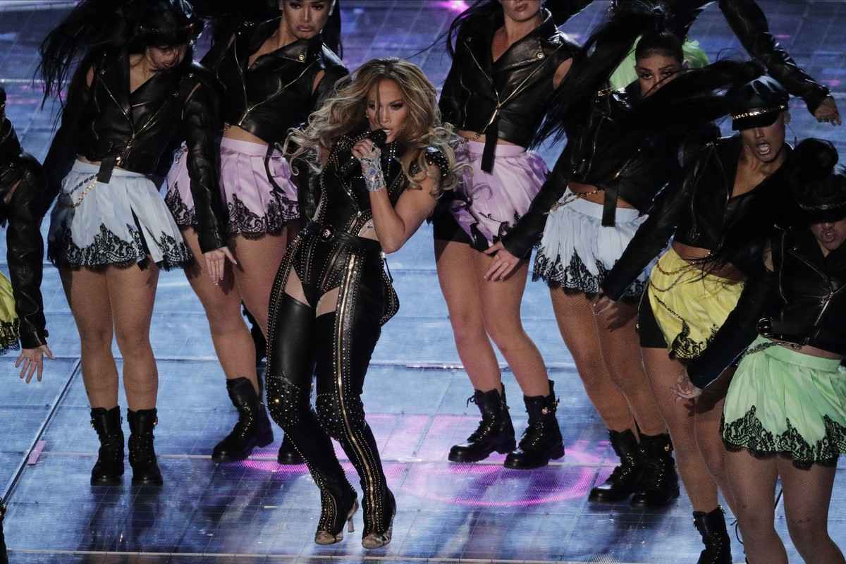 Jennifer Lopez performs during the halftime show at the NFL Super Bowl 54 football game between the San Francisco 49ers and Kansas City Chiefs', Sunday, Feb. 2, 2020, in Miami Gardens, Fla.. (AP Photo/Charlie Riedel)