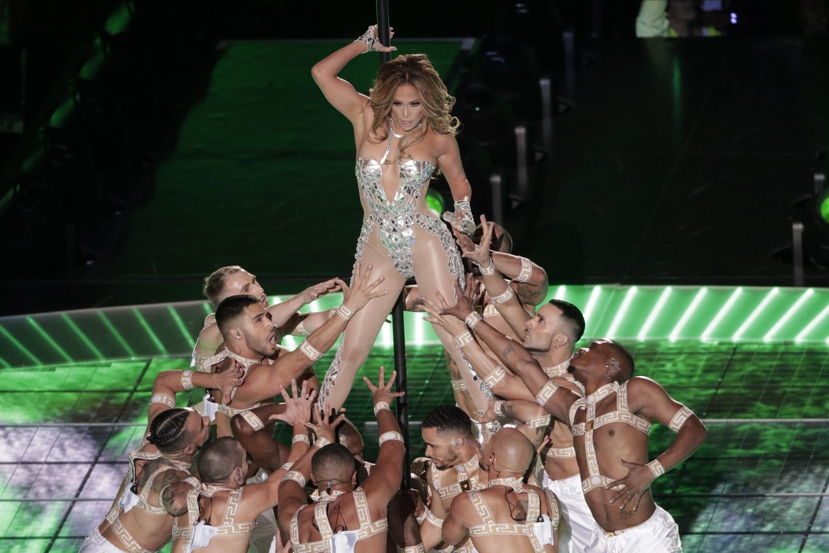 Jennifer Lopez performs, during the halftime show at the NFL Super Bowl 54 football game between the San Francisco 49ers and Kansas City Chiefs', Sunday, Feb. 2, 2020, in Miami Gardens, Fla.