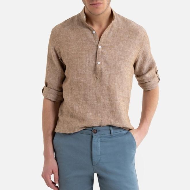 Λινό πουκάμισο με μάο γιακά