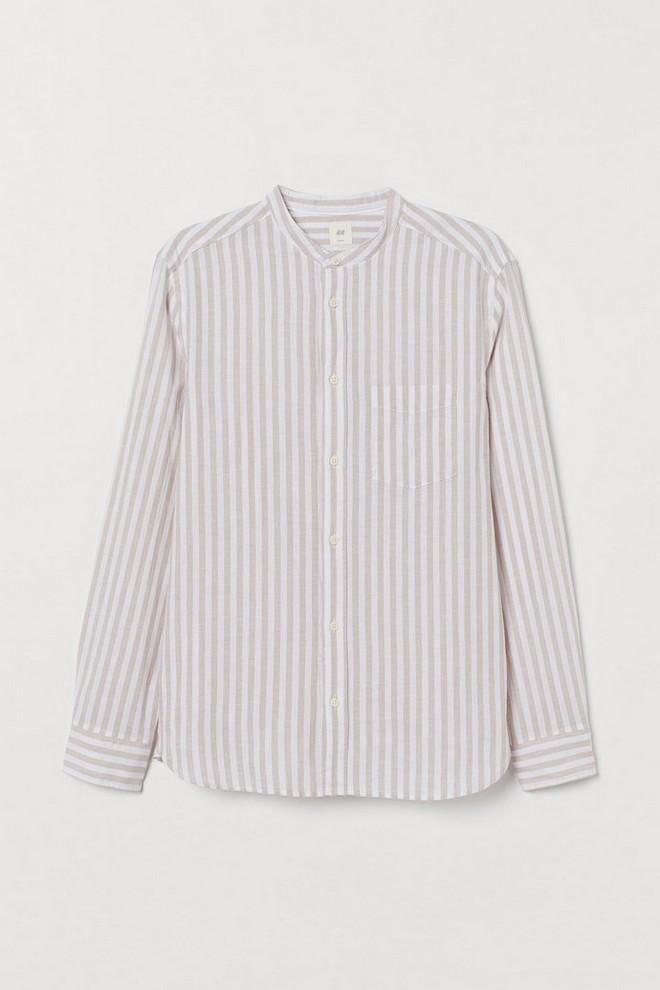 Ριγέ λινό πουκάμισο
