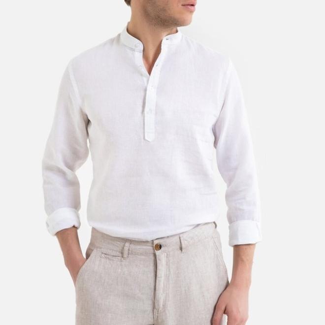 Μακρυμάνικο ίσιο πουκάμισο με μάο γιακά