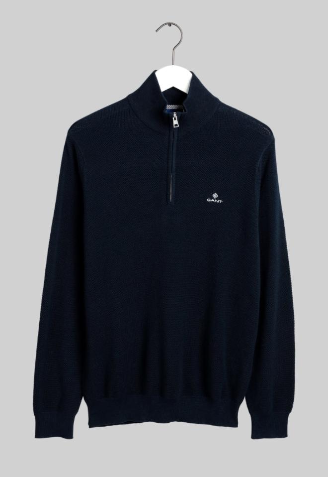 "Gant ανδρικό πικέ πουλόβερ με φερμουάρ  ""Troyer"""