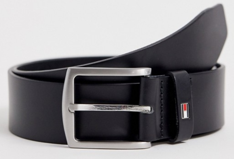 Tommy Hilfiger Denton flag logo leather belt in black | ASOS
